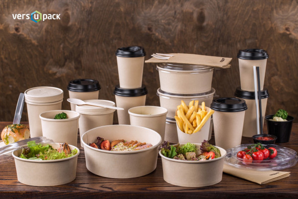 Bamboo paper disposable tableware. Bamboo paper take-out boxes