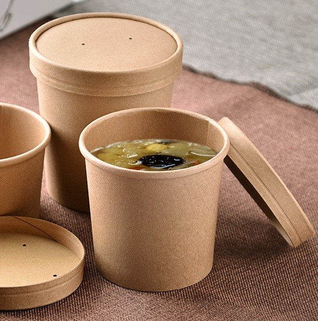 ECO kraft disposable taleware and food packaging. Kraft take-out food containers