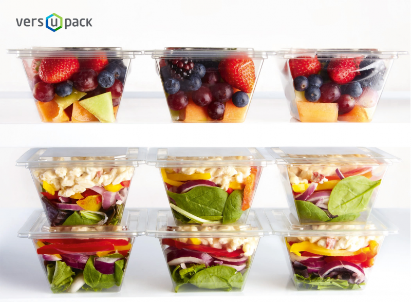 Disposable salad and dessert containers Top seal trays Versupack