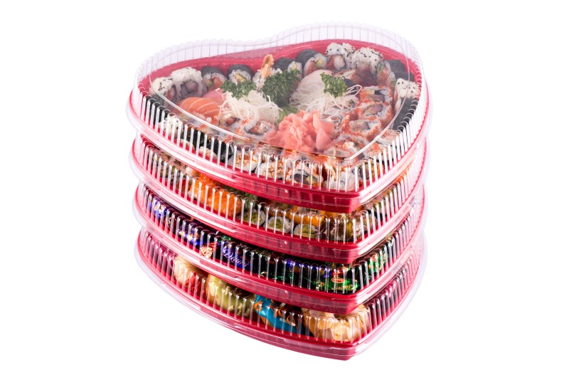 Valentine's Day heart shape take-out packaging and sushi party platters