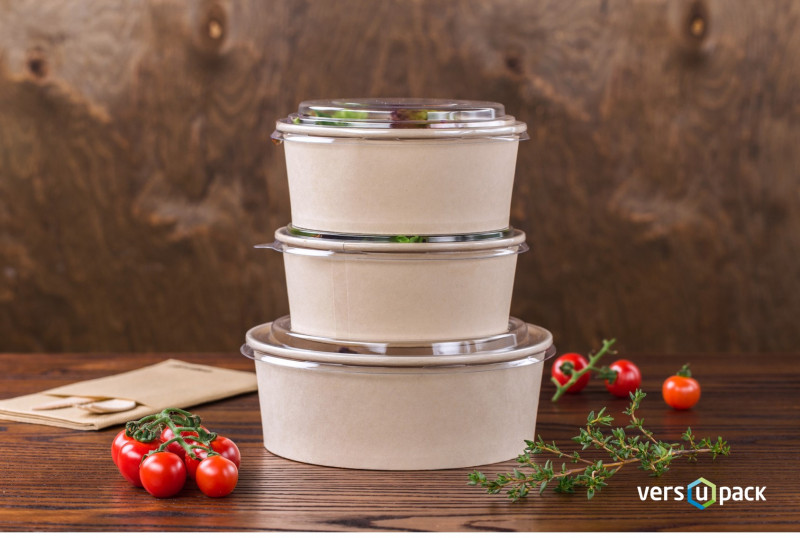 Eco-friendly salad bowls. Foodservice take-out bamboo paper containers