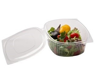 Disposable hinged lid rPet deli containers