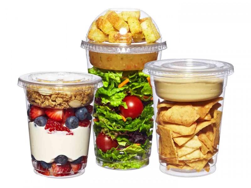 Одноразовые стаканы и вставки для еды To-Go. Упаковка для здоровых закусок и завтраков с собой..