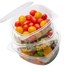 Disposable hinged lid lid salad containers