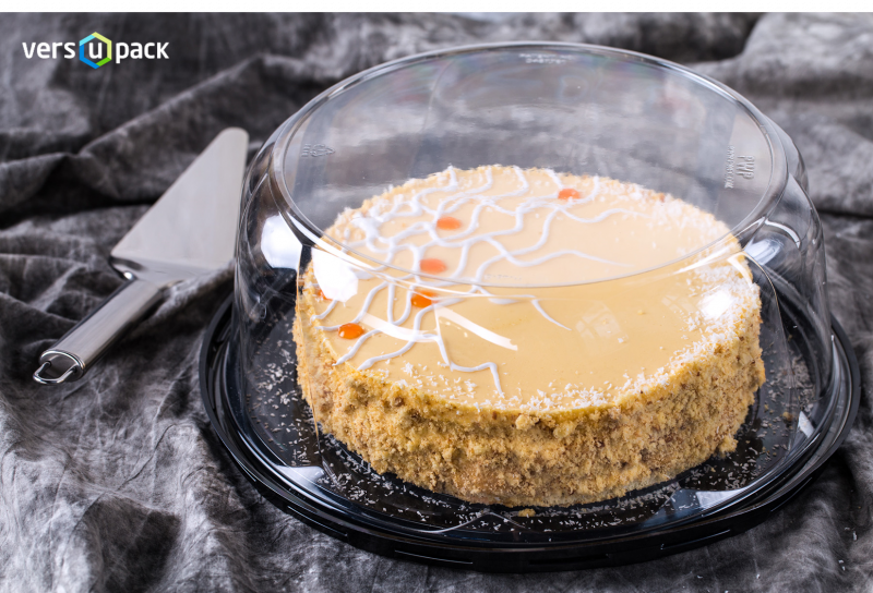 High dome cake display container with clear dome lid. Compostable cake packaging.
