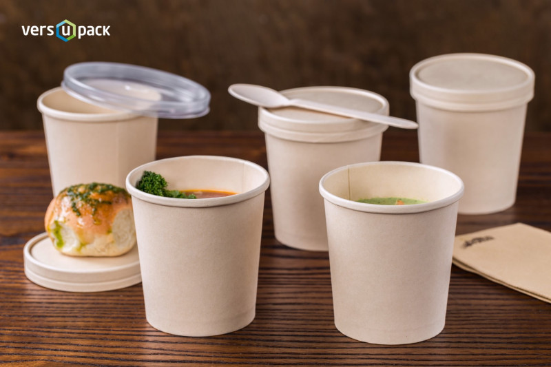 Bamboo paper hot cups. Bamboo paper soup containers and take away boxes